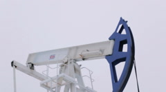 Oil and gas industry. Work of oil pump jack on a oil field. Close Up Stock Footage