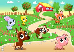 Funny farm animals in the garden - stock illustration