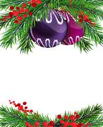 Christmas tree decorations with winterberry holly - stock illustration