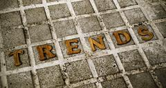 wooden letters forming the word trends - stock photo