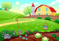 Stock Illustration of Funny countryside scenery with vegetable garden