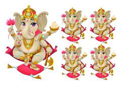 Ganesh in 5 different colors Stock Illustration