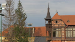 Part of the Olimpia tennis club and restaurant, Brasov Stock Footage
