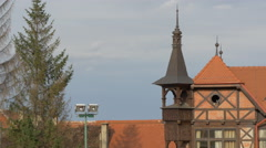 A tree and the Olimpia tennis club roof, Brasov Stock Footage