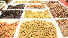 Olive on a market 3 Stock Footage