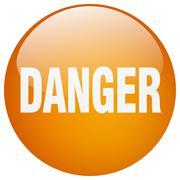 Stock Illustration of danger orange round gel isolated push button