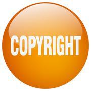 Stock Illustration of copyright orange round gel isolated push button