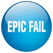 epic fail blue round gel isolated push button - stock illustration