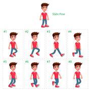 Animation of boy walking. - stock illustration