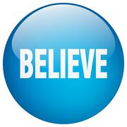 Believe blue round gel isolated push button Stock Illustration