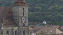 Black Church - view from the side, Brasov Stock Footage