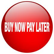 Buy now pay later red round gel isolated push button Stock Illustration