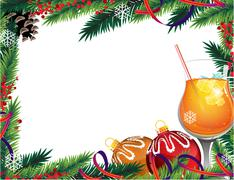 Cocktail and Christmas ornaments - stock illustration