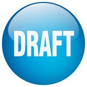 draft blue round gel isolated push button - stock illustration