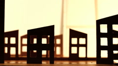 Silhouette of a cardboard city, slidershot Stock Footage