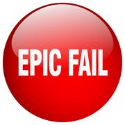 epic fail red round gel isolated push button - stock illustration