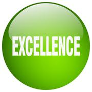 Excellence green round gel isolated push button Stock Illustration