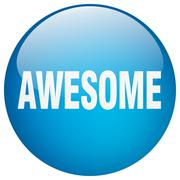 awesome blue round gel isolated push button - stock illustration