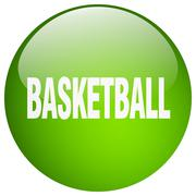 Basketball green round gel isolated push button Piirros