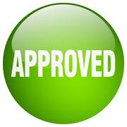approved green round gel isolated push button - stock illustration