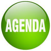 agenda green round gel isolated push button - stock illustration