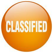 Classified orange round gel isolated push button Stock Illustration