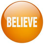 Stock Illustration of believe orange round gel isolated push button