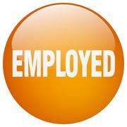employed orange round gel isolated push button - stock illustration