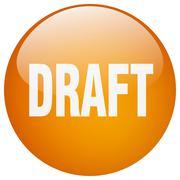 draft orange round gel isolated push button - stock illustration