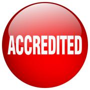 accredited red round gel isolated push button - stock illustration