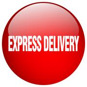 express delivery red round gel isolated push button - stock illustration