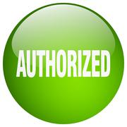 Authorized green round gel isolated push button Stock Illustration