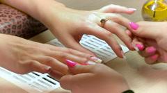 Manicure. Nail salon. Massage - stock footage