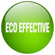 eco effective green round gel isolated push button - stock illustration