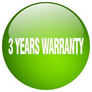 3 years warranty green round gel isolated push button Stock Illustration