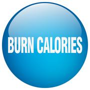 burn calories blue round gel isolated push button - stock illustration