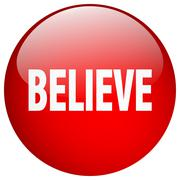 Believe red round gel isolated push button Stock Illustration