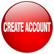Create account red round gel isolated push button Stock Illustration