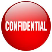 Confidential red round gel isolated push button Stock Illustration