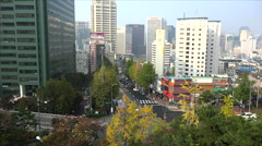 Namchang-dong (Jung-gu district) from the Namsan park. Seoul, South Korea. Stock Footage