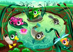 Funny animals in the pond Stock Illustration