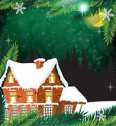House with pine trees. Stock Illustration