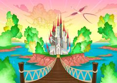 Fantasy landscape with castle. - stock illustration
