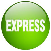 Express green round gel isolated push button Stock Illustration