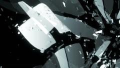 Glass smashed and broken in slow motion. Alpha matte - stock footage