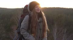Beautiful Girl Freedom Tourist Enjoying The Fresh Air - stock footage