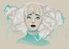 Portrait of a sad crying lady - stock illustration