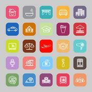 Hospitality business line flat icons - stock illustration