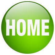Stock Illustration of home green round gel isolated push button