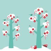 Merry Christmas card design trees with white snow on the branches, birds and red Stock Illustration